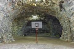 Basketball inside salt mine Royalty Free Stock Image