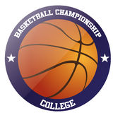 Basketball. An isolated label with text, stars and a basketball ball Stock Images