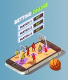 Basketball Betting Online Concept. Basketball isometric betting online conceptual composition with basketball court placed on smartphone screen with bet buttons Stock Images