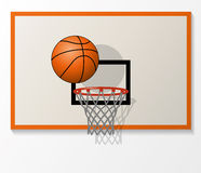 Vector basketball items. Vector illustration of basketball net and backboard set, ball dunk in the hoop Stock Image