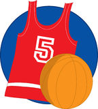 Basketball Jersey. Red basketball Jersey with basketball on blue background Stock Photography