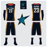 Basketball jersey, shorts, socks template for basketball club.. Basketball uniform or jersey, shorts, socks template for basketball club. Front and back view Royalty Free Stock Photos
