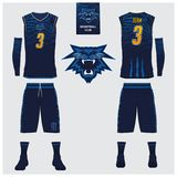 Basketball jersey, shorts, socks template for basketball club. Front and back view sport uniform. Tank top t-shirt mock up. Basketball jersey, shorts, socks Stock Photo