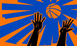 Basketball Jump Ball. A vector illustration of the hands of basketball players for a basketball Royalty Free Stock Photography