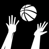 Basketball Jump Ball. A vector illustration of the hands of basketball players for a basketball Royalty Free Stock Images
