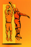 Basketball jump block colour. Illustration on a basketballer jumping shooting and the other trying to block the shot Royalty Free Stock Photo