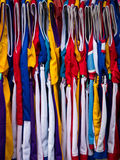 Basketball Kit. Colourful basketball kit hanging on a market stall royalty free stock photo