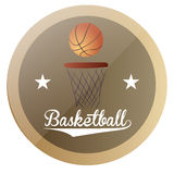 Basketball. An  label with text, stars and a basketball ball and net Stock Photo
