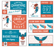 Basketball labels colored Stock Image