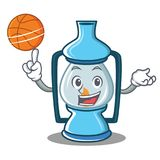 With basketball lantern character cartoon style Royalty Free Stock Images