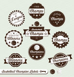 Basketball League Champion and All Star Labels. Collection of basketball league champion and all star labels and stickers Royalty Free Stock Images