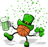 Basketball Leprechaun. A basketball leprechaun celebrating St. Patrick's Day by dancing with a three leave clover, green beer, and confetti Stock Photos