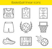 Basketball linear icons set Stock Images