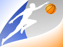Basketball logo. Vector figure of the basketball player in multi-coloured background vector illustration