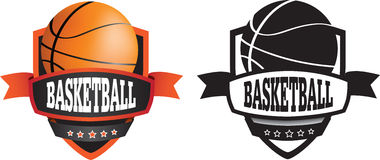 Basketball logo or badge, shield or branding stock illustration