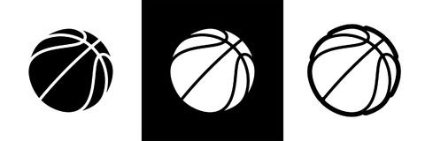 Basketball logo set of vector icon for streetball championship tournament, vector school or college team league stock illustration