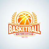 Basketball logo template, basketball logotype, badge logo design template, sport logotype template. Basketball Themed T shirt template. Vector illustration Stock Images