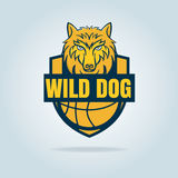 Basketball logo template with wild dog Royalty Free Stock Image