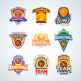 Basketball logo templates set, basketball logotype collection, badge logo design templates, sport logotype templates. Royalty Free Stock Photo