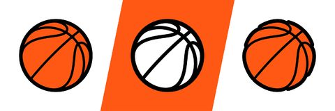 Basketball logo vector icon for streetball championship tournament, school or college team league. Vector flat basket ball symbol stock illustration