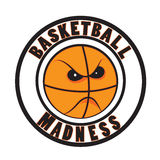 Basketball madness. Vector. March tournament logo icon. Angry ball cartoon Stock Images