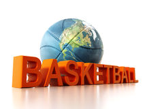 Basketball mapped with Earth texture. 3D illustration.  Royalty Free Stock Image