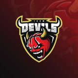 Basketball mascot logo devil design vector with modern illustration concept style for badge, emblem and tshirt printing. angry. Devil basketball illustration vector illustration