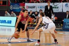 Basketball match. Nemanja Nedovic of Lietuvos Rytas vs Oleksandr Lypovyy of Donetsk at the basketball match «Donetsk» Donetsk, Ukraine vs. «Lietuvos Rytas» Stock Photography