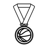 Basketball medal isolated icon. Vector illustration design Stock Photos