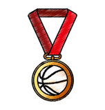 Basketball medal isolated icon. Vector illustration design Stock Photography