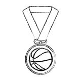Basketball medal isolated icon. Vector illustration design Stock Image
