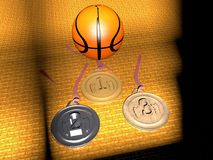 Basketball and medals Stock Photos