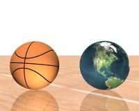 Basketball mit Erde Stockfotografie