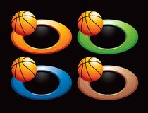 Basketball on multicolored circular rings Royalty Free Stock Photography