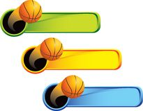 Basketball on multicolored tabs Stock Photo