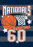 Basketball Nationals sports on stripped background Royalty Free Stock Photos