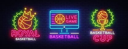 Basketball Neon Logo collection Vector. Basketball neon sign, design template, modern trend design, sports neon stock illustration