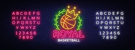 Basketball neon sign vector. Royal Basketball Design template neon sign, light banner, neon signboard, modern trend. Design, bright advertising, light vector illustration