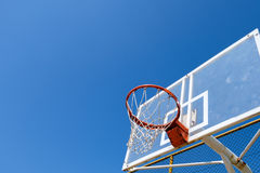 Basketball nest. Outdoor basketball rim and backboard Royalty Free Stock Photo