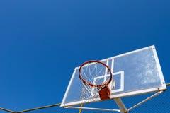 Basketball nest. Outdoor basketball rim and backboard stock photo