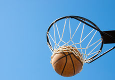 Basketball in the net. Abstract concept of success, reaching one's goals Stock Photos