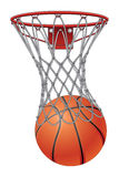 Basketball Through Net. Illustration of a basketball going through a basketball net to score Royalty Free Stock Photography