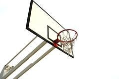 Basketball net. Old basketball net isolated in white background - left side of the image Stock Photography