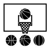 Vector basketball net and balls. Vector collection of basketball net, backboard set and basketball balls Royalty Free Stock Photos