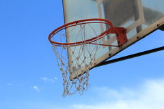 Basketball  Net. Basketball  Net In Blue Background Royalty Free Stock Images