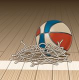Basketball on Court Floor with Cut Net royalty free illustration