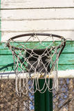 Basketball net. Green basketball net on the common yard Stock Image