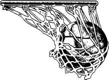 Basketball Net Vector Illustration. A vector illustration of a basketball in the net stock illustration