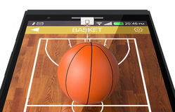 Basketball and new communication technology. Close-up view of a smartphone with basketball field and a ball, concept of sport and new communication technology ( Royalty Free Stock Photos
