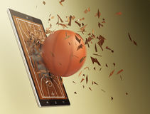 Basketball and new communication technology. Tablet pc with basketball field and a ball coming out by breaking the glass, concept of sport and new communication Royalty Free Stock Photos